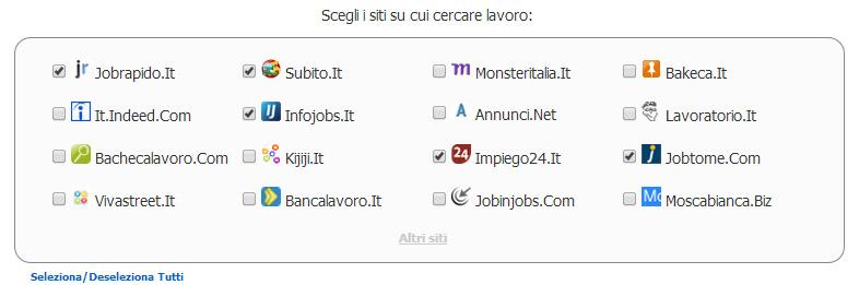 Serjob selezionare siti per la ricerca